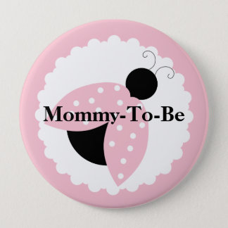 Pink Ladybug Mommy To Be Baby Shower Button