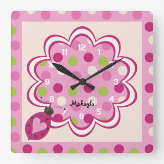 Pink Ladybug on Polka Dots Nursery Wall Clock