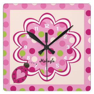 Pink Ladybug on Polka Dots Nursery Wall Clock
