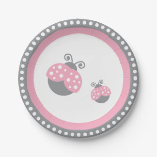 Pink Ladybug Paper Plate