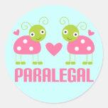 Pink Ladybug Paralegal Gift Round Sticker