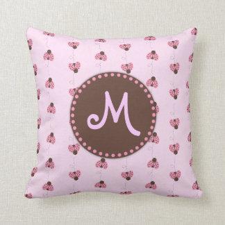 Pink Ladybug Pattern Monogram Girl's Toss Pillow