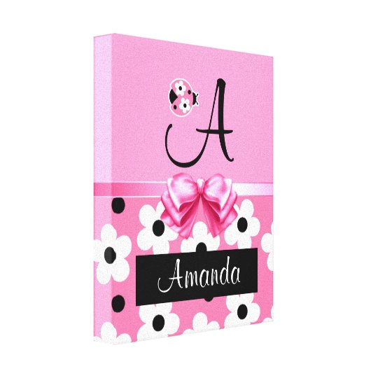 Pink Ladybug: Personalize Canvas Print
