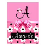 Pink Ladybug: Personalize Postcard