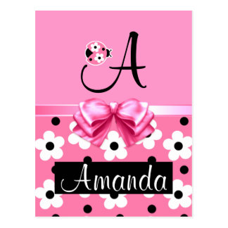 Pink Ladybug: Personalize Post Card