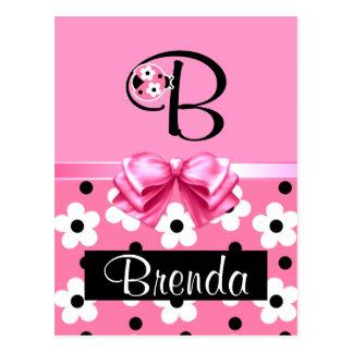 Pink Ladybug: Personalize Post Card