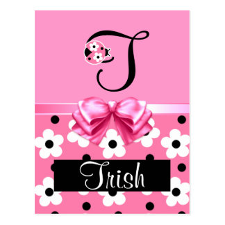 Pink Ladybug: Personalize Post Cards