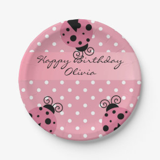 Pink Ladybug Personalized Birthday Paper Plates
