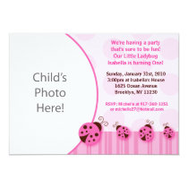 Pink Ladybug Photo Birthday Invitations
