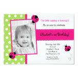 Pink Ladybug Photo BIrthday Party Invitations