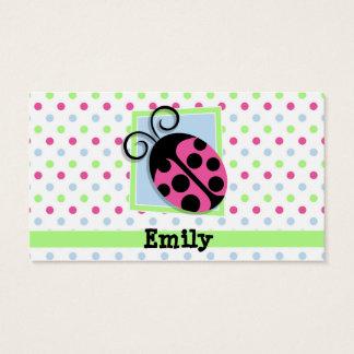 Pink Ladybug, Pink, Blue, Green, Polka Dots Business Card