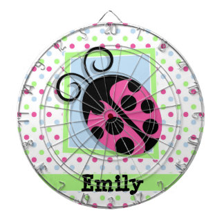 Pink Ladybug, Pink, Blue, Green, Polka Dots Dartboards