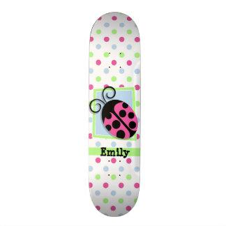 Pink Ladybug, Pink, Blue, Green, Polka Dots Skate Decks