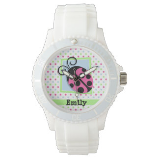 Pink Ladybug, Pink, Blue, Green, Polka Dots Wristwatch