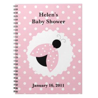 Pink Ladybug & Polka Dots Baby Shower Notebook