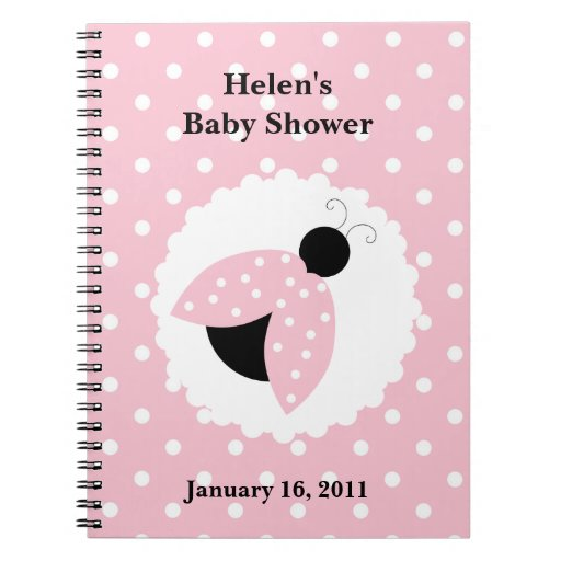 pink ladybug polka dots baby shower notebook zazzle