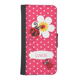 Pink ladybug polka flower girls iPhone flap case iPhone 5 Wallet