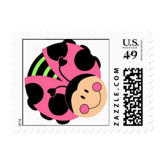 Pink Ladybug postage stamp