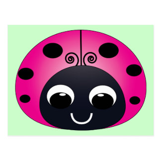 Pink Ladybug Postcard