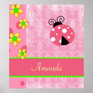 Pink Ladybug Poster
