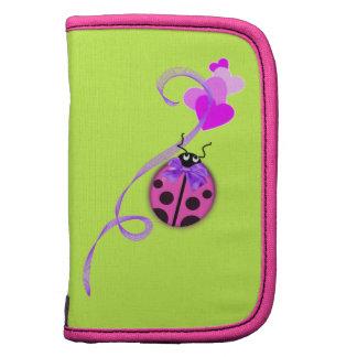 Pink Ladybug Purple Ribbon Folio Planners