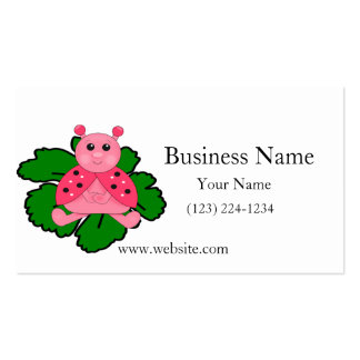 Pink Ladybug Sitting On A Leaf Double-Sided Standard Business Cards (Pack Of 100)
