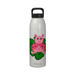 Pink Ladybug Sitting On A Leaf Reusable Water Bottle