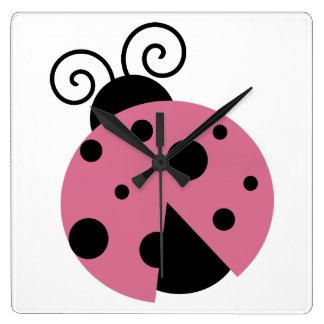 Pink Ladybug Square Wall Clock