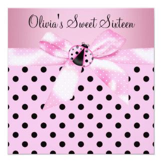 "Pink Ladybug Sweet Sixteen Birthday Party 5.25"" Square Invitation Card"
