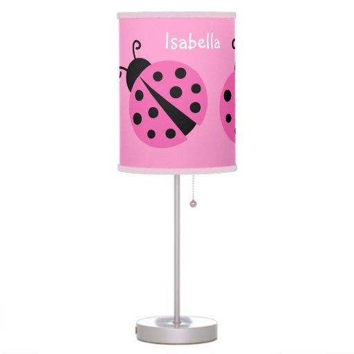Pink ladybug table lamp for baby girl nursery room