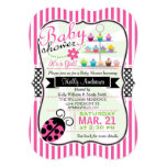 Pink Ladybug Theme Girl Baby Shower Card