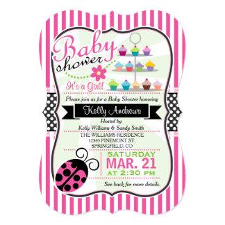 Pink Ladybug Theme Girl Baby Shower 5x7 Paper Invitation Card