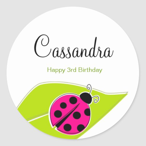 Pink Ladybug Topper Stickers