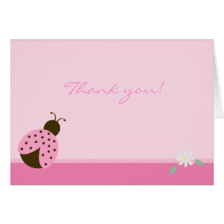 Pink Ladybug with daisy FOLDED thank you note Card