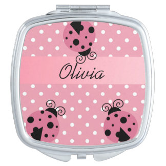 Pink Ladybug with Polka Dots compact mirror