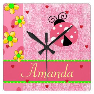 Pink Ladybug Yellow Flowers, Name Template Square Wall Clocks