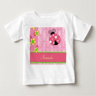 Pink Ladybug Yellow Flowers, Name Template T Shirts
