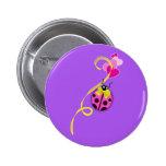 Pink Ladybug Yellow Ribbon Pinback Button
