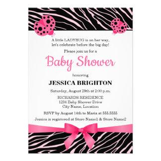 Pink Ladybug Zebra Stripes Baby Shower Invitations