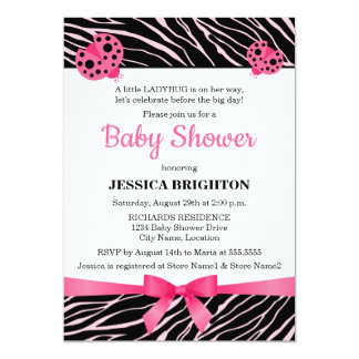 "Pink Ladybug Zebra Stripes Baby Shower Invitations 5"" X 7"" Invitation Card"