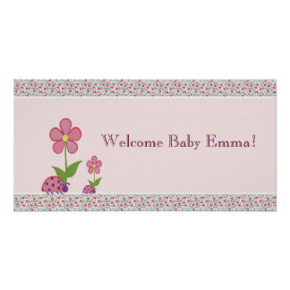 Pink Ladybugs Baby Shower Banner Poster