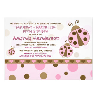 Pink Ladybugs Baby Shower Invitations