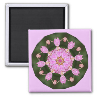 Pink Ladybugs Dancing Queen Bee Pink Orchid 2 Inch Square Magnet