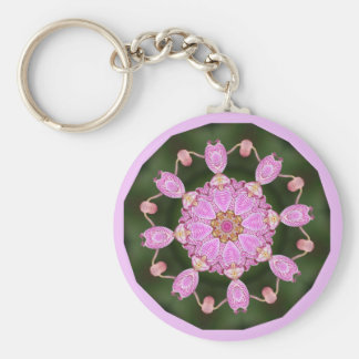 Pink Ladybugs Dancing Queen Bee Pink Orchid Basic Round Button Keychain