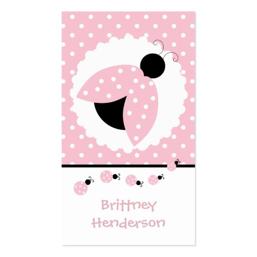 Pink Ladybugs Girly Play Date Card Business Card