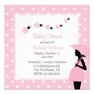 Pink ladybugs & Polka Dots Custom Baby Shower Custom Announcements