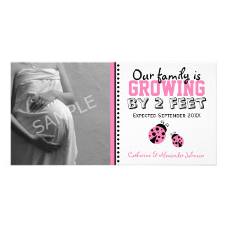 Pink Ladybugs Pregnancy Announcement Photo Card