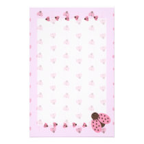 Pink Ladybugs Stationary Stationery