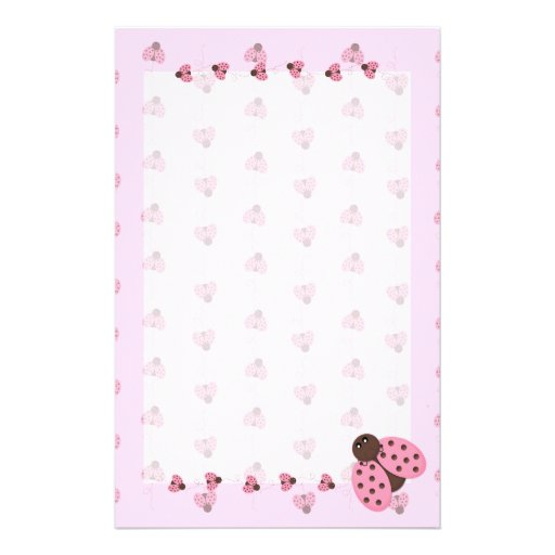 Pink Ladybugs Stationary Personalized Stationery