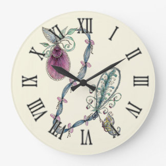 Pink Lady's Slipper Large Round Wall Clock